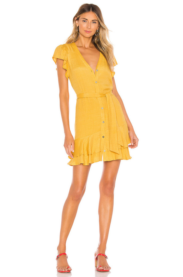 1. STATE Button Down Asymmetrical Ruffle Dress in yellow