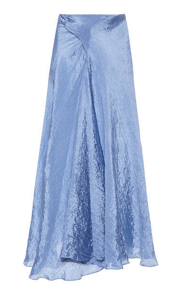 Vince Textured Drape Maxi Skirt Size: 00 in blue