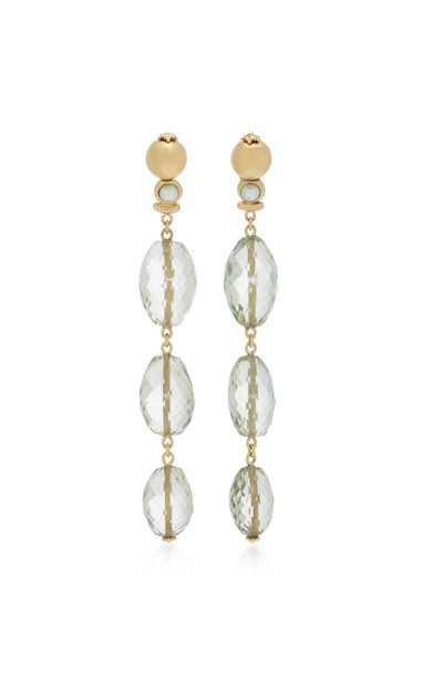 Sorab & Roshi 18K Yellow Gold Amethyst Dangle earrings in green