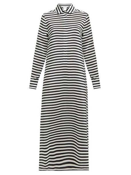 Max Mara - Oste Striped Silk Shirt Dress - Womens - Black White