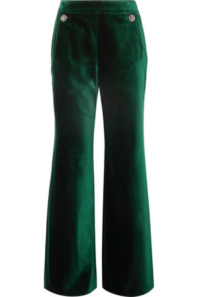 Temperley London - Clove Velvet Wide-leg Pants - Dark green