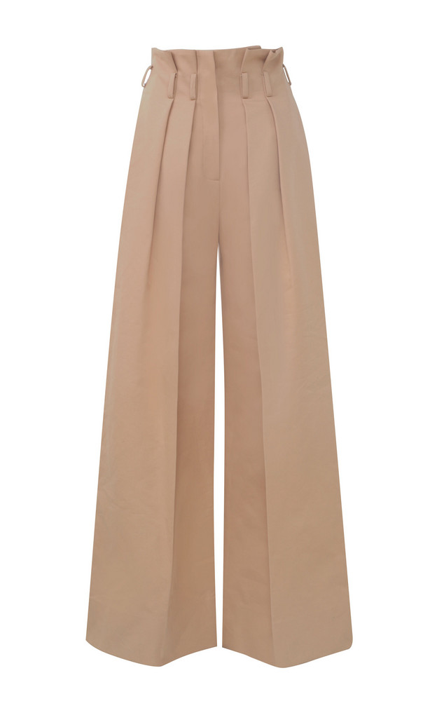 Martin Grant Paperbag-Waist Cotton Pants in neutral