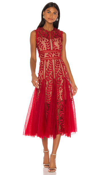 Bronx and Banco Saba Maroon Midi Dress in Red