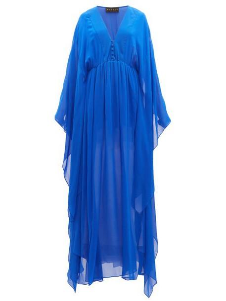 Dundas - Gathered Silk Gown - Womens - Blue