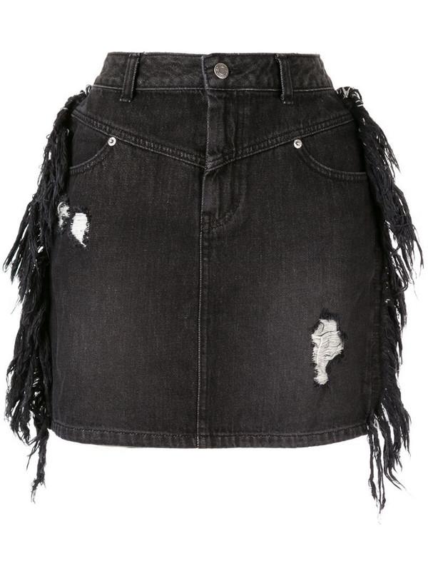 SJYP side fringe mini denim skirt in black