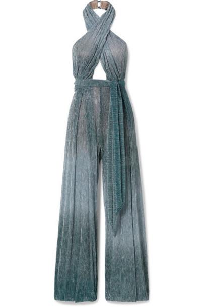 PatBO - Ombré Lurex Halterneck Jumpsuit - Blue