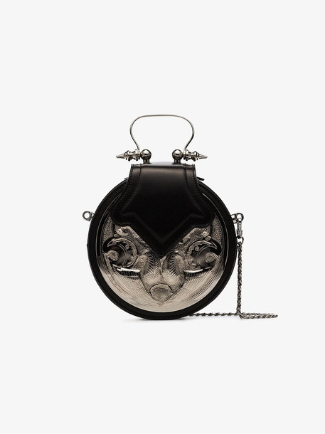 Okhtein Dome plated cross-body bag in black / silver