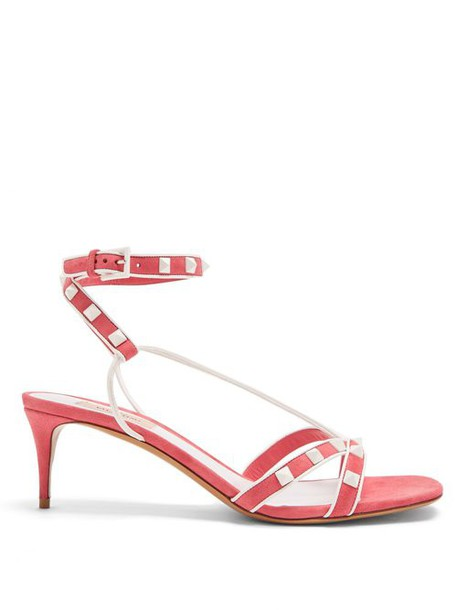 Valentino - Free Rockstud Suede Sandals - Womens - Pink White