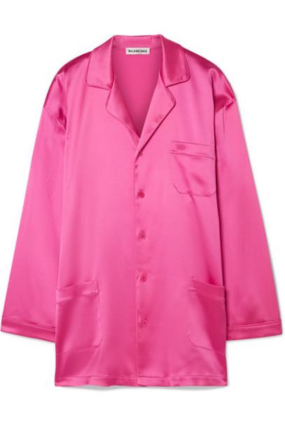 Balenciaga - Oversized Satin Shirt - Pink