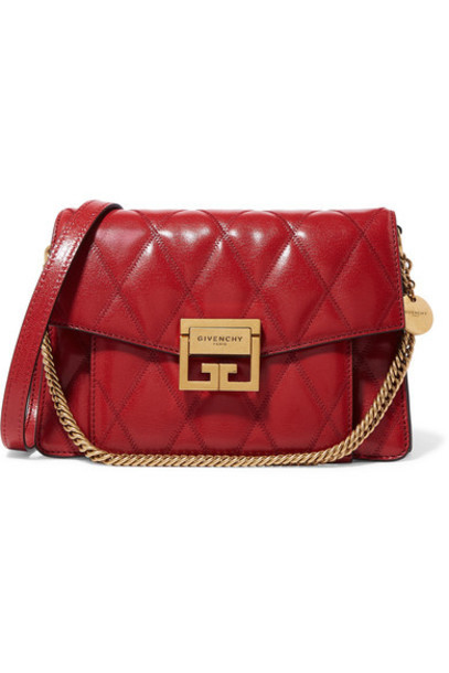 Givenchy - Gv3 Small Quilted Textured-leather Shoulder Bag in red