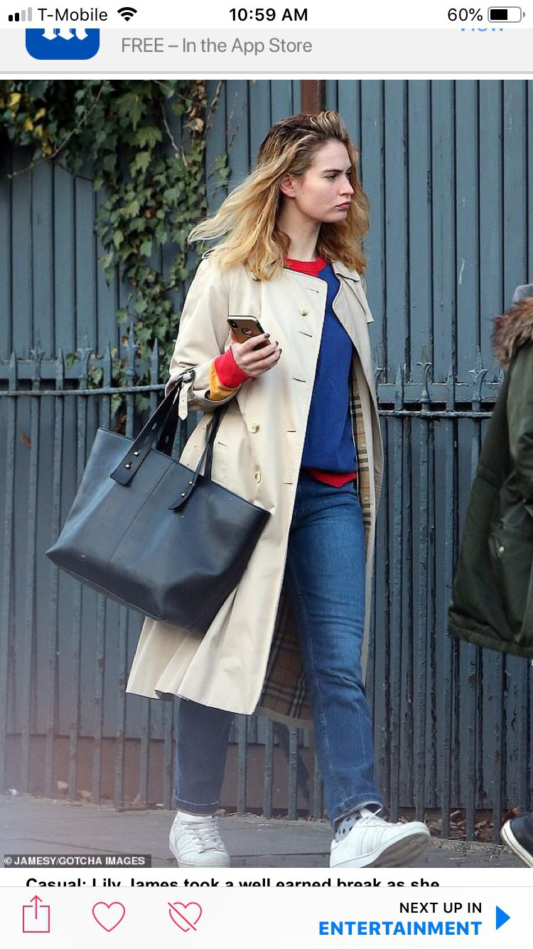 bag lily james with black leather tote