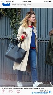 bag,lily james with black leather tote