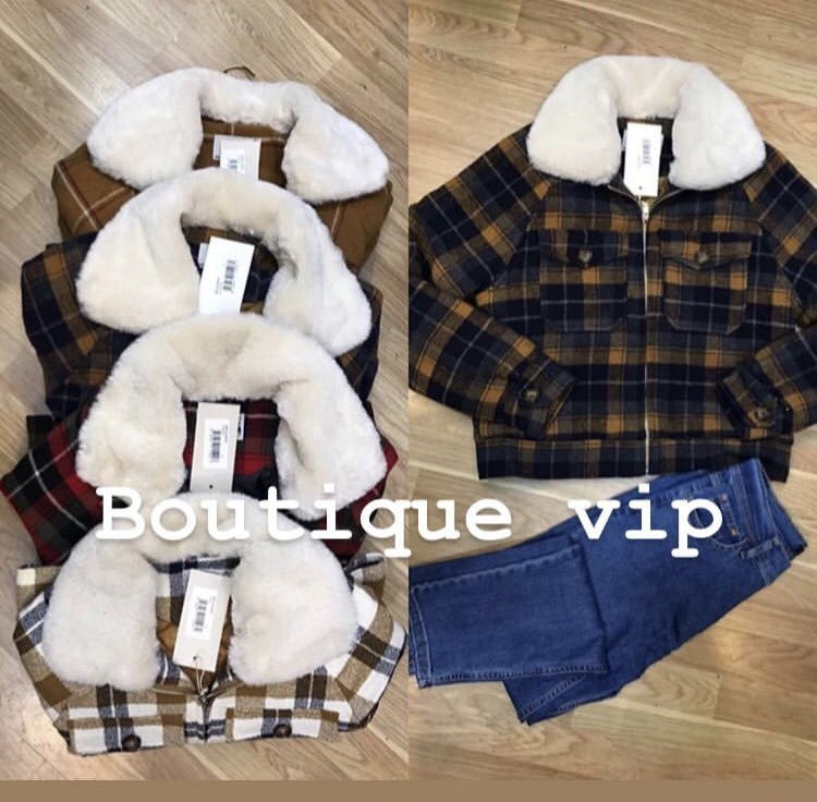 coat plaid fur collar jacket fleece lined