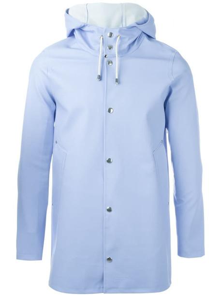 Stutterheim hooded coat in blue