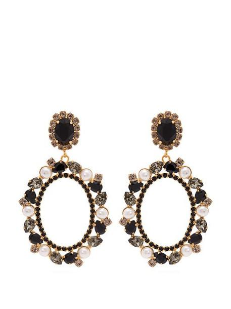 Erdem - Crystal And Pearl Embellished Lace Drop Earrings - Womens - Black