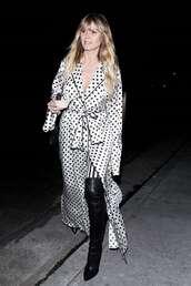 dress,black and white,polka dots,heidi klum,celebrity,wrap dress,boots