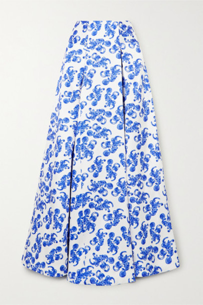 Solace London - Alma Printed Twill Maxi Skirt - Blue