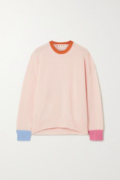 Marni - Color-block Cashmere Sweater - Blush