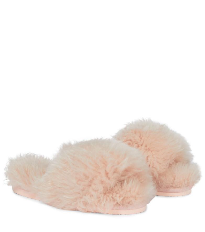 INUIKII Shearling slides in pink