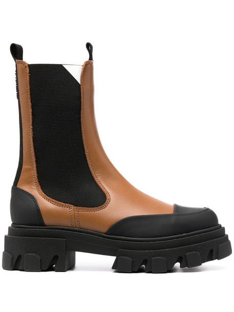 GANNI chunky sole leather Chelsea boots in brown