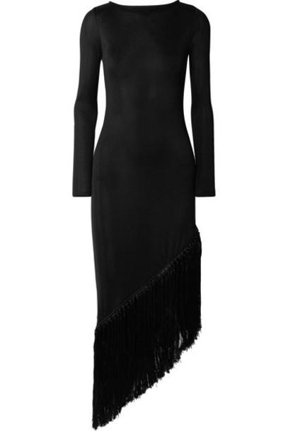 Cult Gaia - Sharona Asymmetric Fringed Stretch-jersey Midi Dress - Black