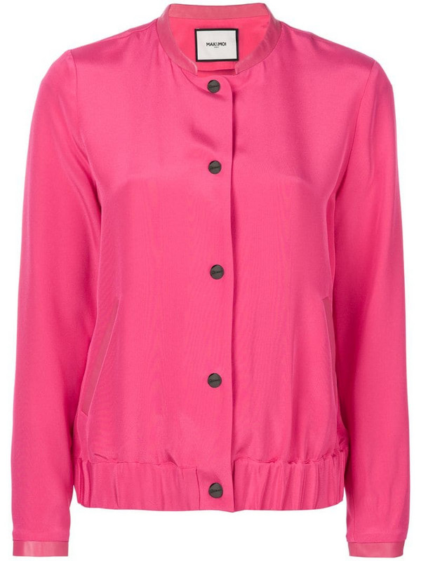 Max & Moi button bomber jacket in pink