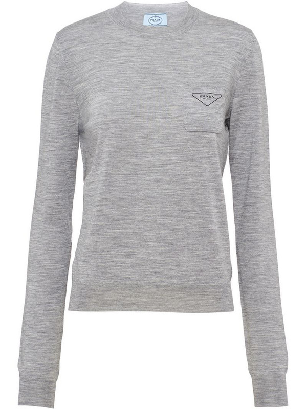 Prada logo-print long-sleeve jumper in grey