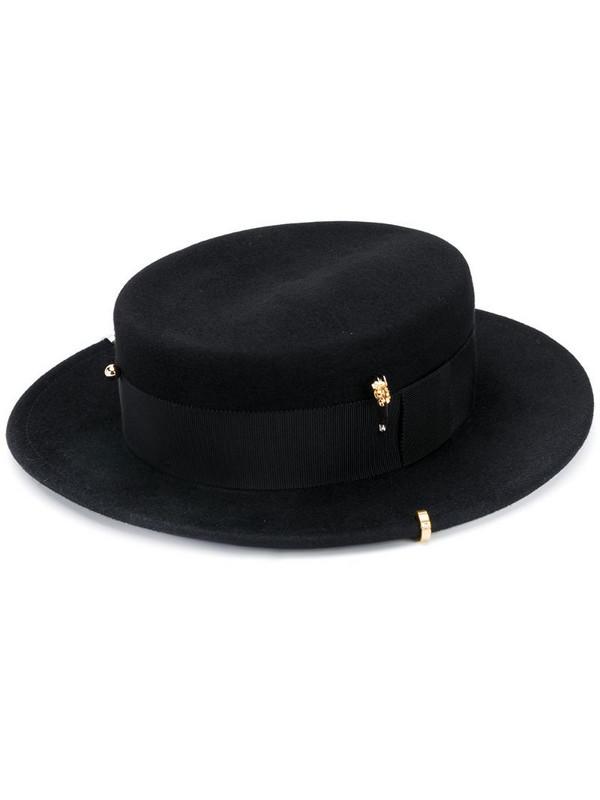 Ruslan Baginskiy Canotier chain detail hat in black
