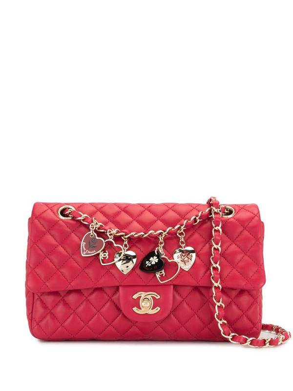 Chanel Pre-Owned 2009 dangling hearts Classic Flap shoulder bag in pink