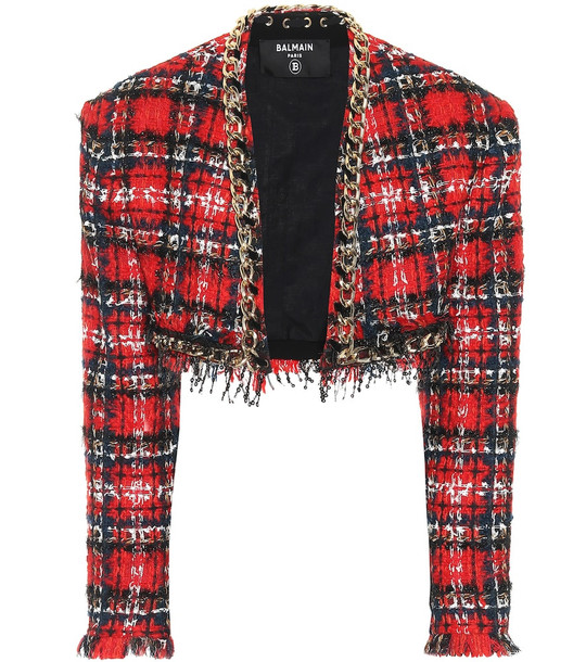 Balmain Checked tweed bolero jacket in red