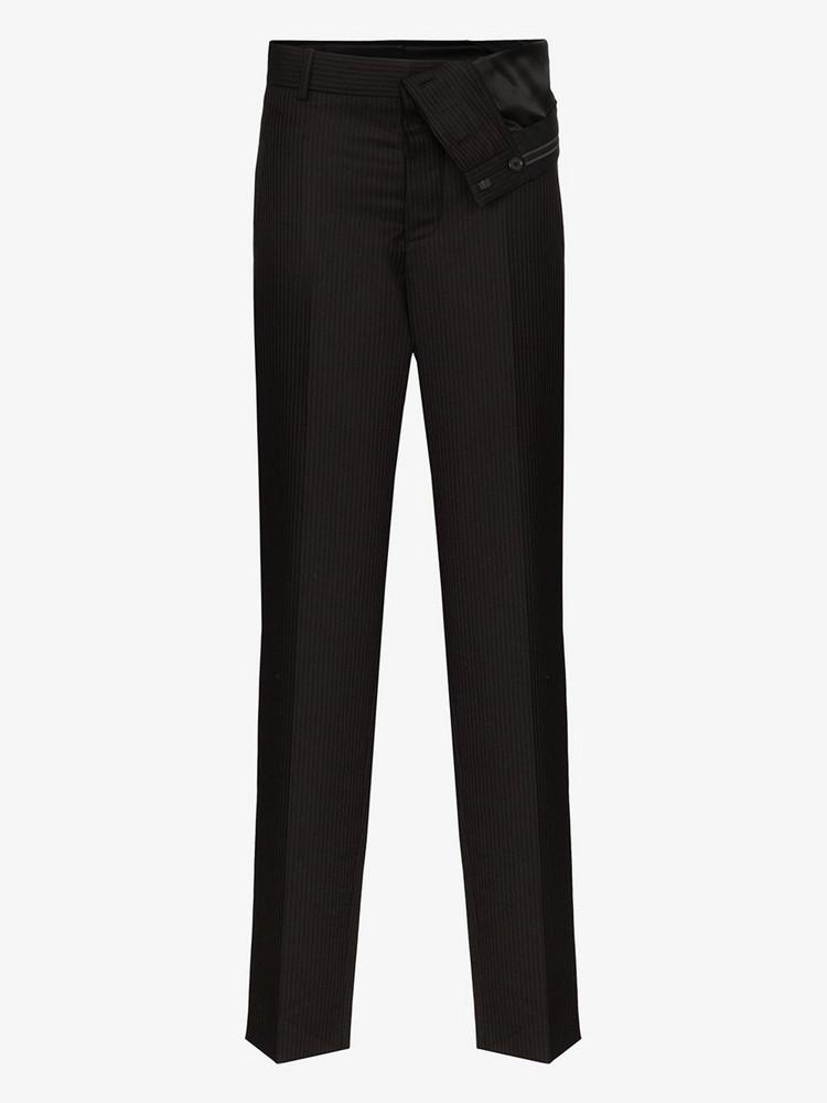Y/Project asymmetric waist pinstripe wool trousers in black