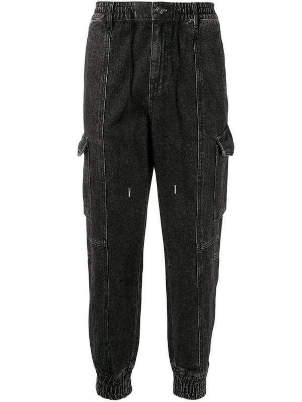 SONGZIO denim cargo track pants in grey