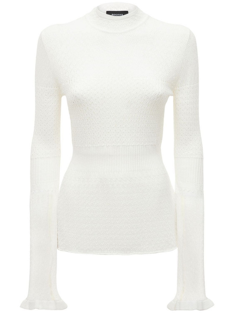 ROCHAS Flared Cable Knit Sweater in ivory