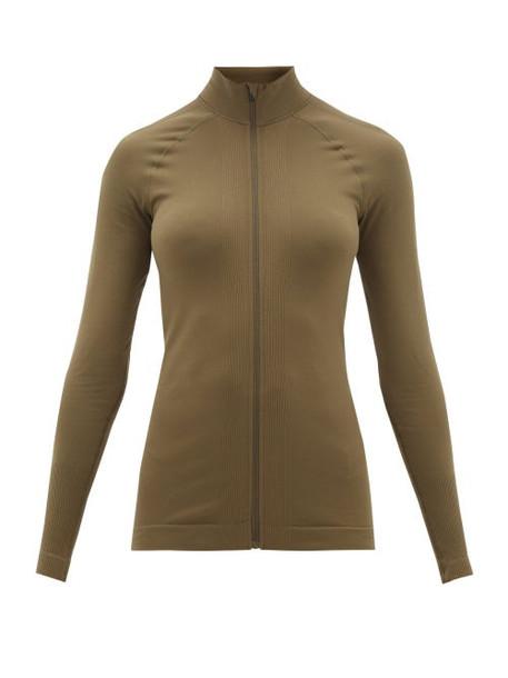 Falke - High-neck Cotton-jersey Track Top - Womens - Dark Green