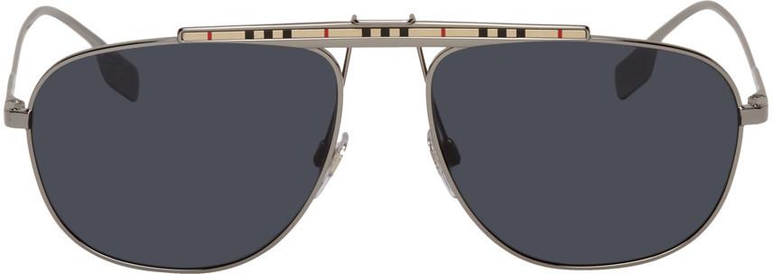 Burberry Gunmetal Check Accent Aviator Sunglasses in silver