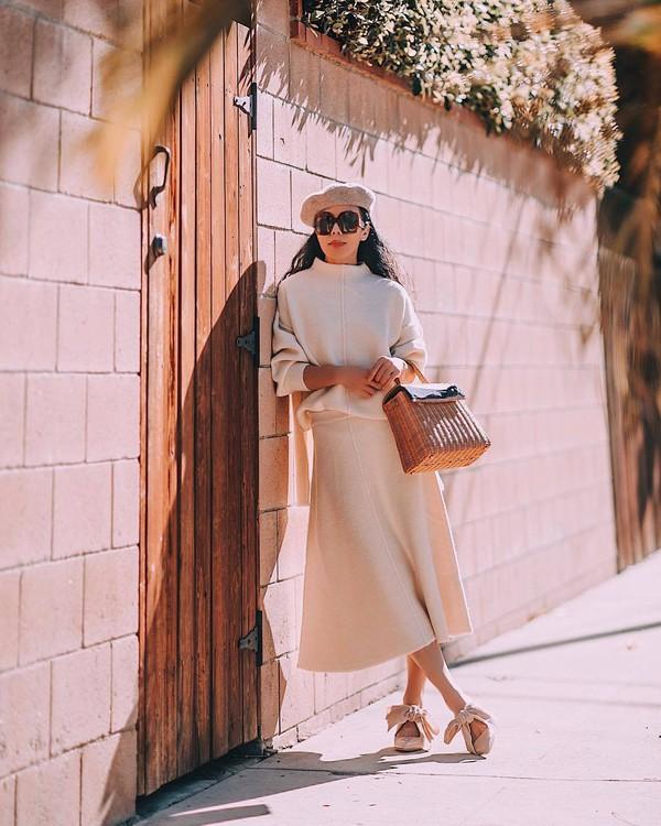 skirt midi skirt knitted skirt knitted sweater brown bag mules handbag beret