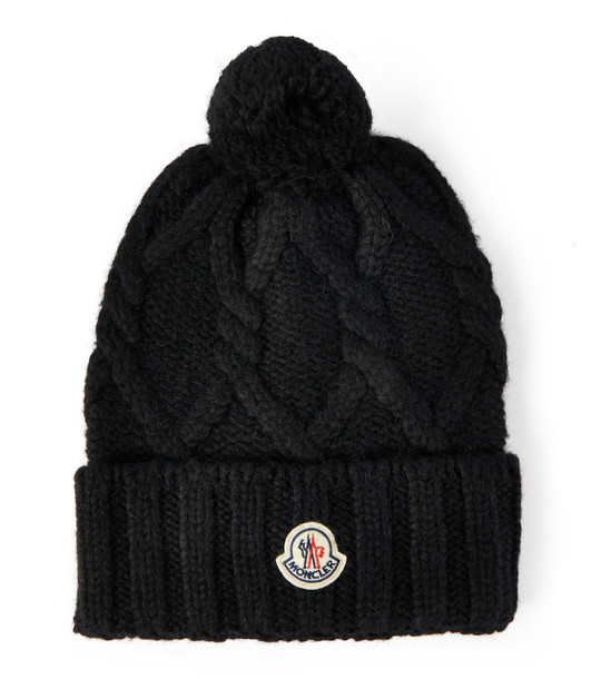 Moncler Cable-knit wool-blend beanie in black