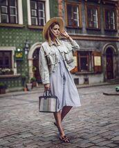 jacket,oversized jacket,midi dress,polka dots,white dress,mules,handbag,sun hat