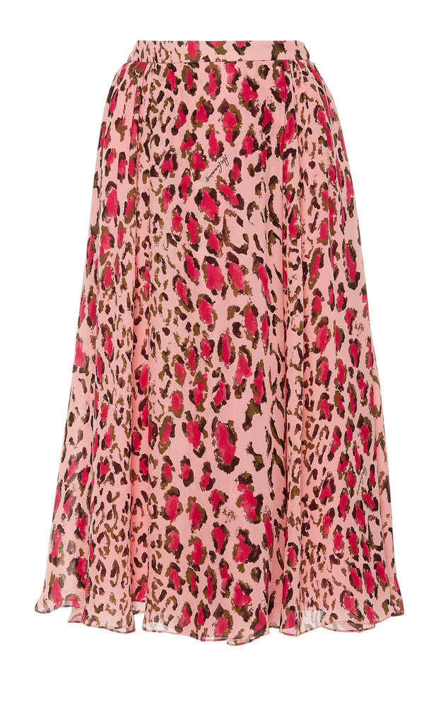 Carolina Herrera Gathered Leopard Print Silk Midi Skirt in pink