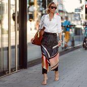 skirt,midi skirt,wrap skirt,shirt,white shirt,sunglasses