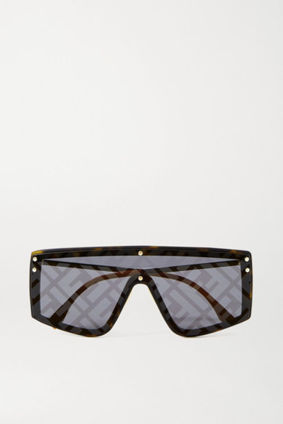 Fendi - D-frame Gold-tone And Acetate Mirrored Sunglasses - Tortoiseshell