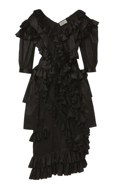 Preen by Thornton Bregazzi Hermia Ruffled Satin Dress Size: S in black