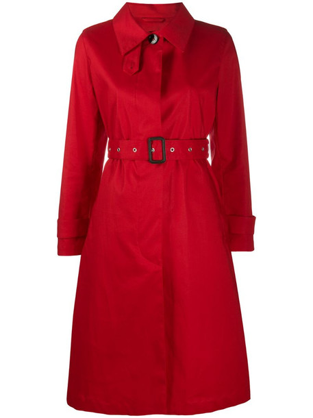 Mackintosh belted trench coat in red