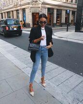 jeans,skinny jeans,pumps,black blazer,white t-shirt,black bag