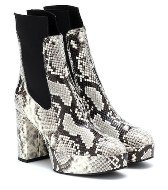 Acne Studios Embossed leather ankle boots in white