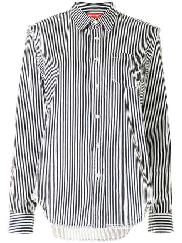Denimist striped raw-cut denim shirt in blue