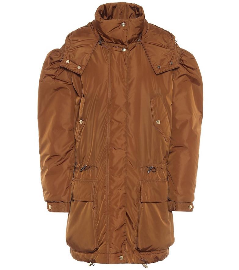 Max Mara Giacomo hooded taffeta coat in brown