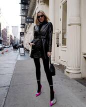 shoes,pumps,pink shoes,balenciaga,black leggings,black bag,black leather jacket,black turtleneck top,black sunglasses
