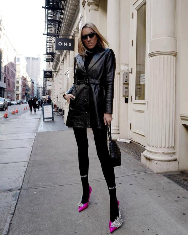 shoes pumps pink shoes balenciaga black leggings black bag black leather jacket black turtleneck top black sunglasses