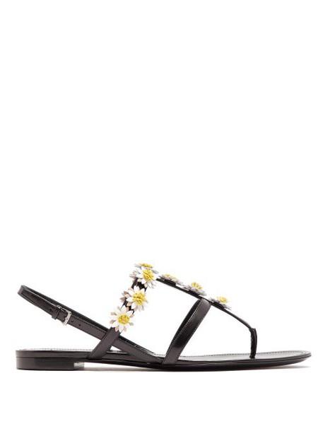 Fabrizio Viti - Bea Daisy Appliqué Leather Sandals - Womens - Black White
